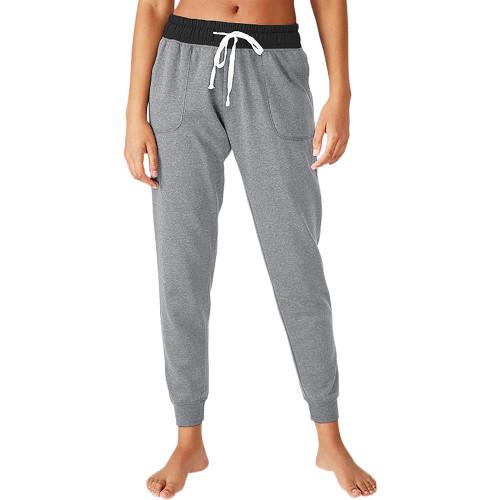 Light Gray Colorblock Drawstring Casual Pants TQK530031-25