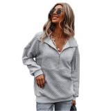 Gray 1/2 Zip Neck Pocket Long Sleeve Sweatshirt TQK230306-11