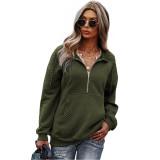 Army Green 1/2 Zip Neck Pocket Long Sleeve Sweatshirt TQK230306-27