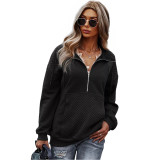 Black 1/2 Zip Neck Pocket Long Sleeve Sweatshirt TQK230306-2