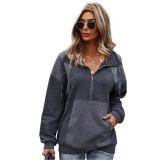 Dark Gray 1/2 Zip Neck Pocket Long Sleeve Sweatshirt TQK230306-26