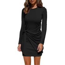 Black Cotton Blend Tie Front Long Sleeve Dress TQK310616-2