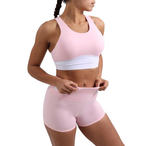 Pink Splice White Sports Yoga Bra Set TQE10116-10