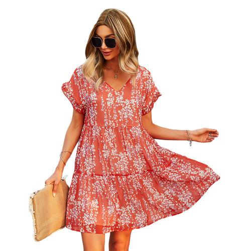 Red Floral Print A-Line Chiffon Dress TQK310569-3