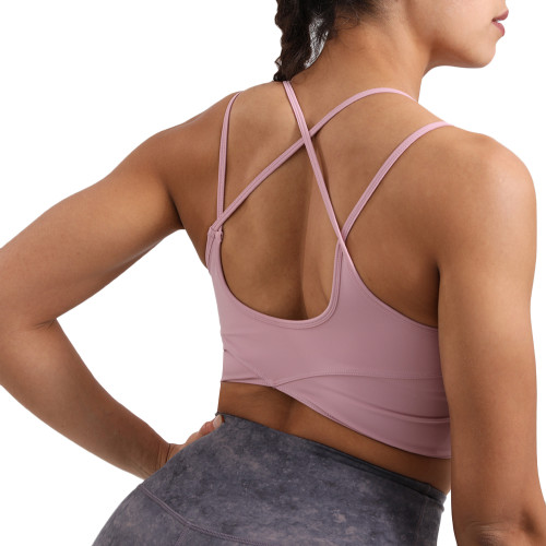 Pink Spaghetti Straps Back Cross Sports Bra TQE10132-10