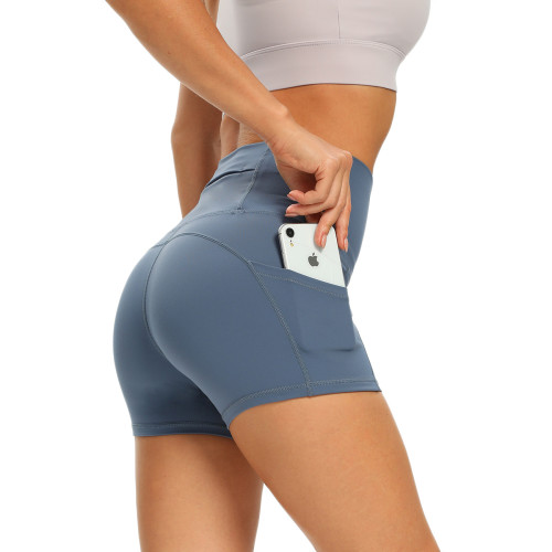 Knowledge Blue Moisture Wicking High Waist Yoga Shorts TQE10115-64