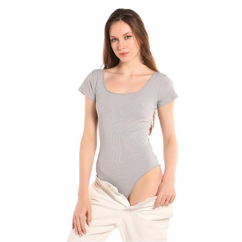 Light Gray Rib Square Neck Bodysuit TQK550247-25