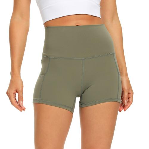 Olive Green Moisture Wicking High Waist Yoga Shorts TQE10115-52