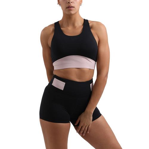 Black Splice Pink Sports Yoga Bra Set TQE10116-2