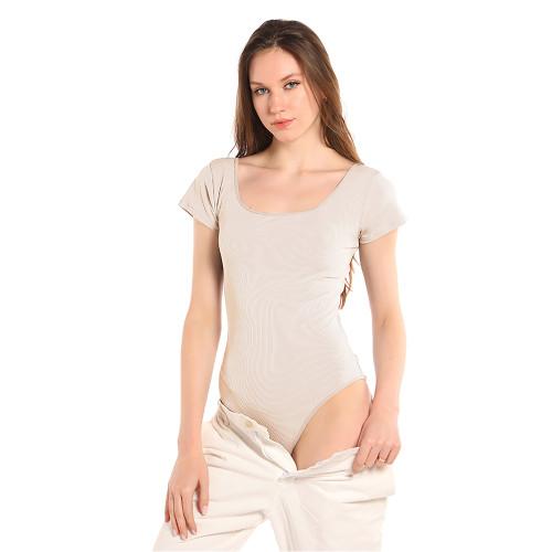 Beige Rib Square Neck Bodysuit TQK550247-46