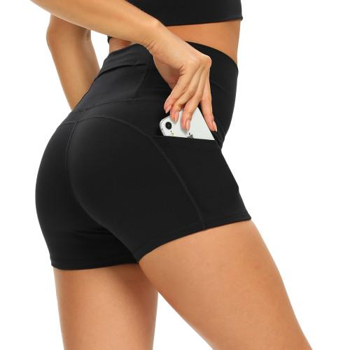 Black Moisture Wicking High Waist Yoga Shorts TQE10115-2