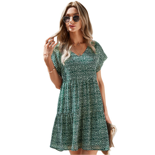 Green Floral Print A-Line Chiffon Dress TQK310569-9