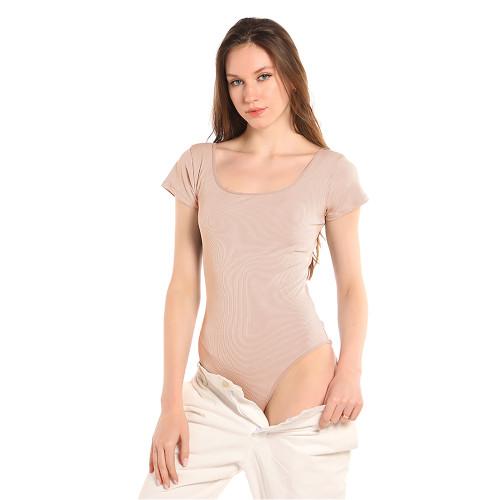 Apricot Rib Square Neck Bodysuit TQK550247-18