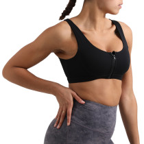 Black Shockproof Zipper Sports Yoga Bra TQE10110-2