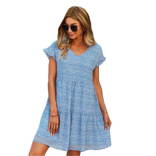 Blue Floral Print A-Line Chiffon Dress TQK310569-5