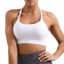 White Fitness Shockproof Sport Bra TQE10112-1