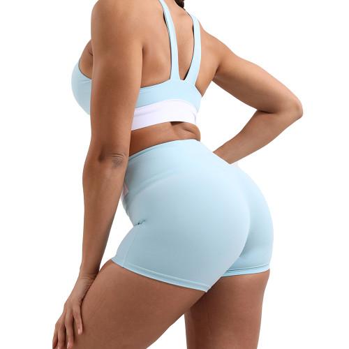 Tiffany Green Splice White Sports Yoga Bra Set TQE10116-62