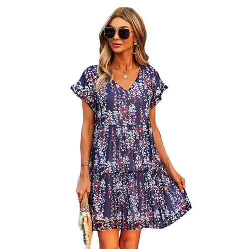 Navy Blue Floral Print A-Line Chiffon Dress TQK310569-34