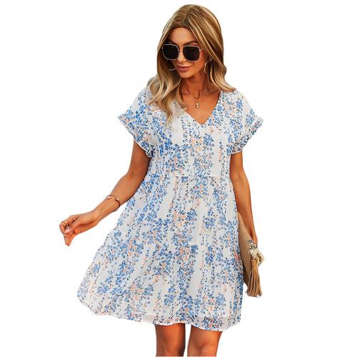 Light Blue Floral Print A-Line Chiffon Dress TQK310569-30
