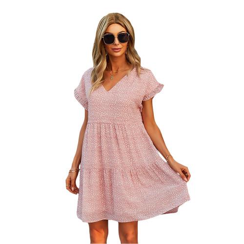Pink Floral Print A-Line Chiffon Dress TQK310569-10