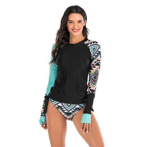 Green 2pcs Printed Long Sleeve Rashguard Surf Suit TQK610221-9