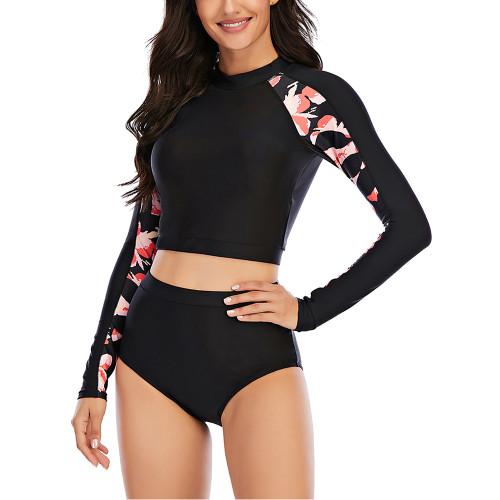 Black 2pcs Printed Long Sleeve Rashguard Surf Suit TQK610223-2