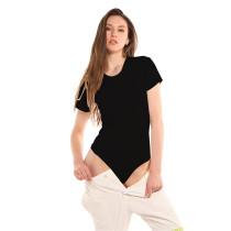 Black Ribbed Round Neck Short Sleeve Bodysuit TQK550248-2