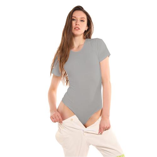 Light Gray Ribbed Round Neck Short Sleeve Bodysuit TQK550248-25