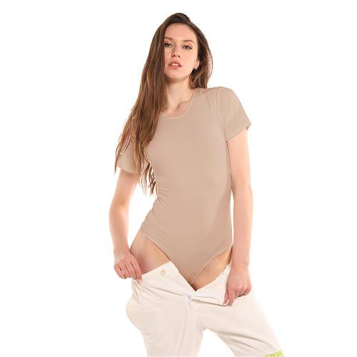 Apricot Ribbed Round Neck Short Sleeve Bodysuit TQK550248-18