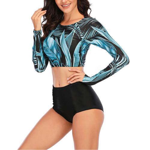 Blue 2pcs Printed Long Sleeve Rashguard Surf Suit TQK610223-5