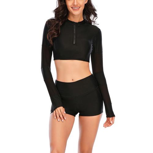 Black Zipper Long Sleeve Crop Top 2pcs Swimsuit TQK610225-2