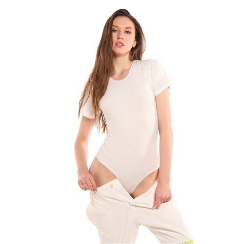 Beige Ribbed Round Neck Short Sleeve Bodysuit TQK550248-46