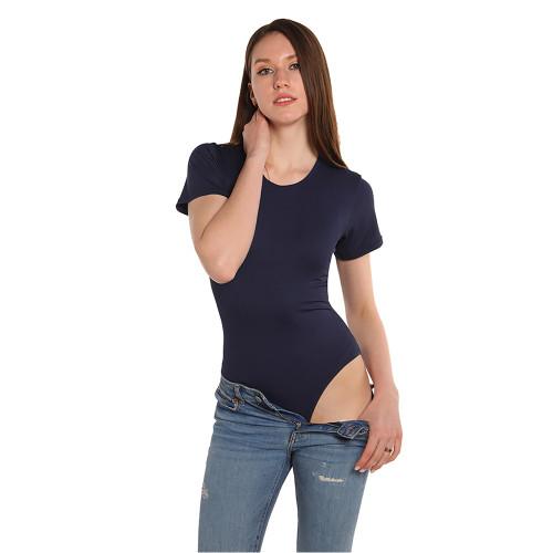 Navy Blue Ribbed Round Neck Short Sleeve Bodysuit TQK550248-34