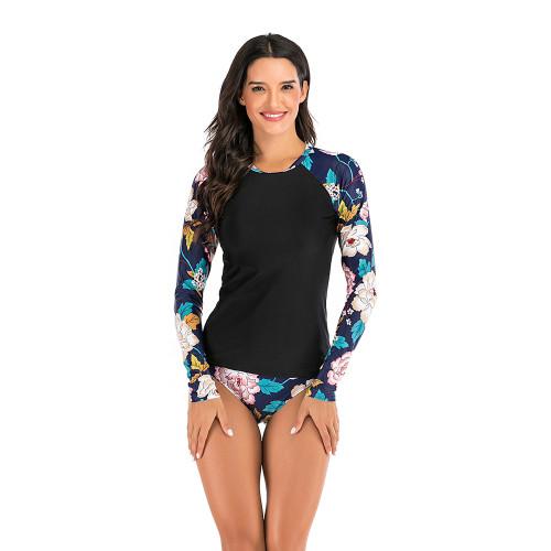 Multicolor 2pcs Floral Sleeve Rashguard Surf Suit TQK610222-29