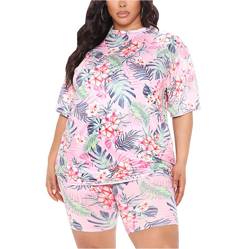 Light Pink Floral Print Loungewear Plus Size Set TQK710344-39