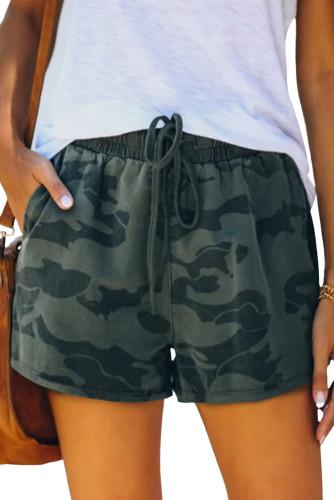 Army Green Camo Print Raw Hem Casual Shorts LC771726-9
