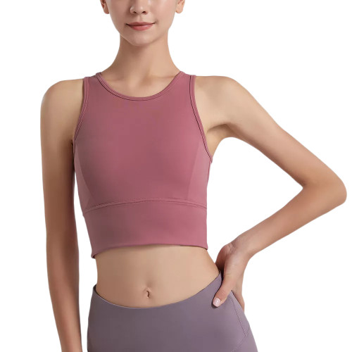 Pink Mesh Back Quick Dry Yoga Tank Bra TQE11343-10