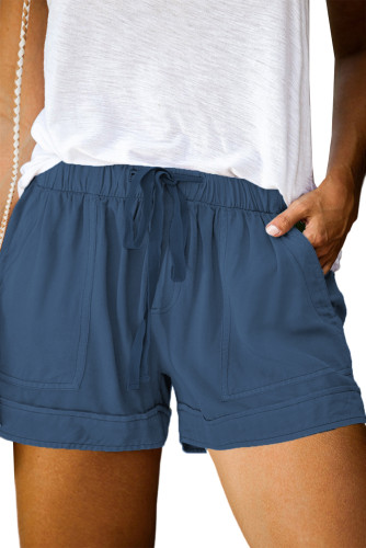 Blue Elastic Waist Drawstring Pocket Shorts LC771240-5