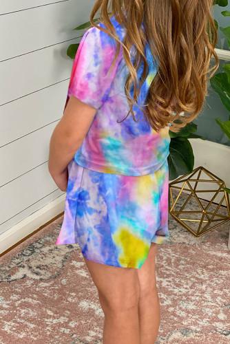 Yellow Girl's Tie Dye T Shirt and Drawstring Shorts Set TZ003-7