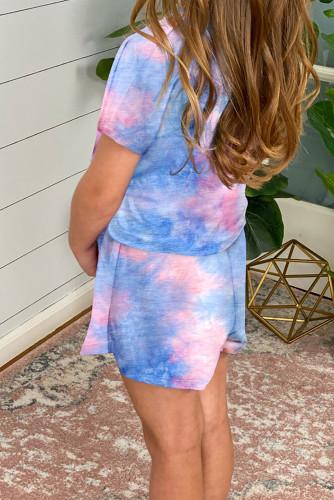 Sky Blue Girl's Tie Dye T Shirt and Drawstring Shorts Set TZ003-4