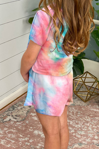 Rose Girl's Tie Dye T Shirt and Drawstring Shorts Set TZ003-6