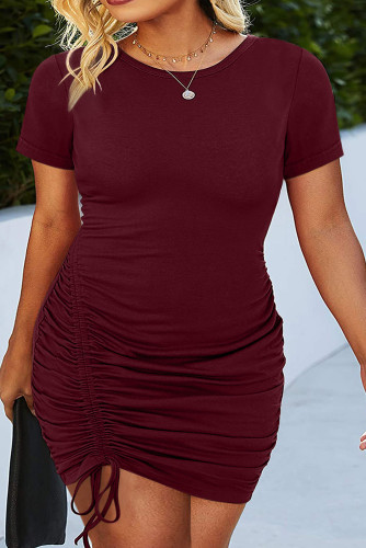Wine Red Crewneck Short Sleeve Drawstring Ruched Plus Size Bodycon Dress LC613750-3