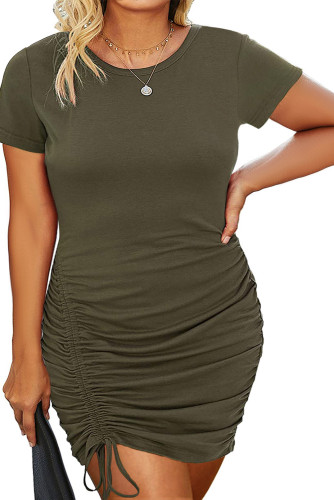 Green Crewneck Short Sleeve Drawstring Ruched Plus Size Bodycon Dress LC613750-9