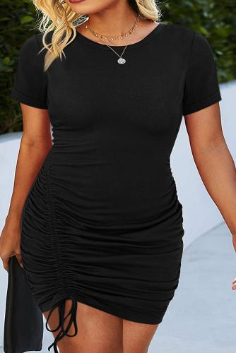 Black Crewneck Short Sleeve Drawstring Ruched Plus Size Bodycon Dress LC613750-2