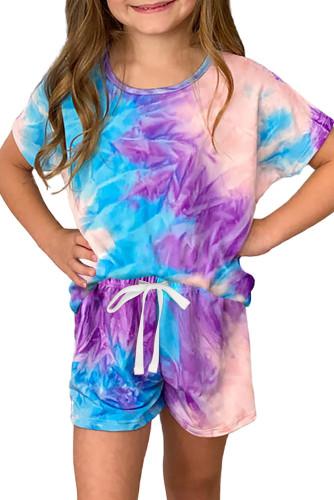Purple Girl's Tie Dye T Shirt and Drawstring Shorts Set TZ003-8