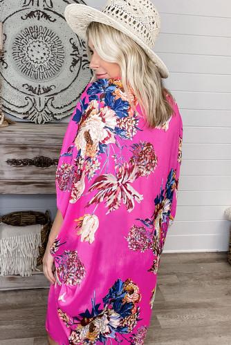 Rose Floral Print Kimono LC254751-6