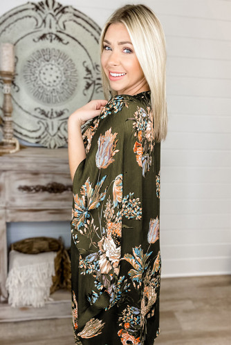 Olive Floral Print Kimono LC254751-9