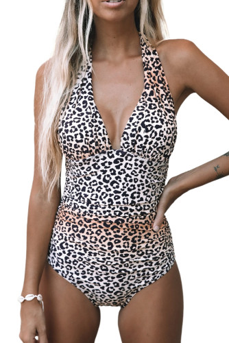 Leopard Print Halter Neck Backless One-piece Swimwear LC44409-16