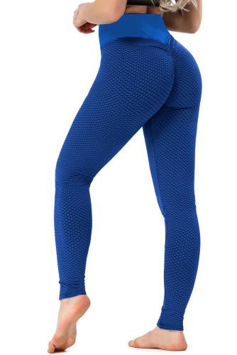 Blue High Waisted Butt Lifting Yoga Gym Leggings LC263637-5