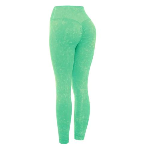 Green Water Wash Seamless Yoga Pants TQE71347-9
